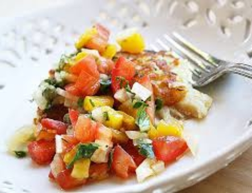 Baked Halibut with Bell Pepper Salsa